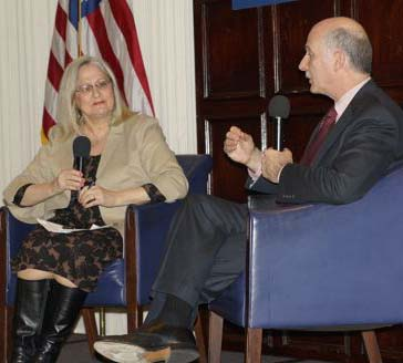 Coalition President Kathy Patterson interviews Council Chairman Phil Mendelson